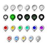 Icônes colorées de geolocation de marqueurs Image stock