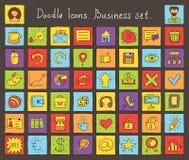 Icônes colorées de griffonnage. Ensemble d'affaires Image libre de droits