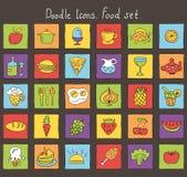 Icônes colorées de griffonnage. Ensemble de nourriture Photo stock