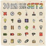 30 icônes colorées de griffonnage ont placé 2 Photos stock