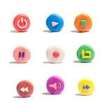 Icônes colorées de media photographie stock