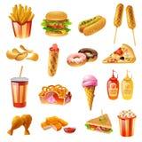 Icônes colorées de menu d'aliments de préparation rapide réglées Photos libres de droits