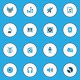 Icônes colorées de musique réglées Collection de volume, de dossier, de Playlist et d'autres éléments Inclut également des symbol Image stock
