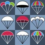 Icônes colorées de parachute réglées, illustration de vecteur Images libres de droits
