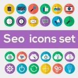 Icônes colorées de seo réglées Photographie stock