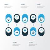Icônes colorées de Sun réglées Collection de masque de natation Photos libres de droits