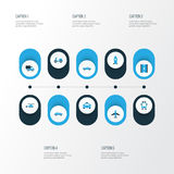 Icônes colorées de transport réglées Collection de manière, avion Image stock