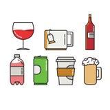 Icônes colorées de vecteur de bouteille et de chapeaux Image libre de droits