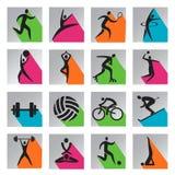 Icônes colorées de Web de sport Images libres de droits