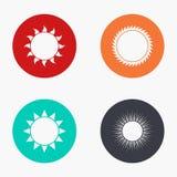 Icônes colorées du soleil moderne de vecteur réglées Photo stock