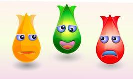 Icônes colorées folles de baisse de tulpin des syndicats réglées Photos stock