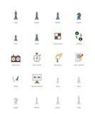 Icônes colorées par échecs sur le fond blanc Image stock