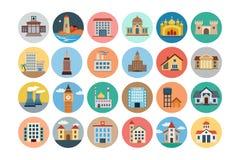 Icônes colorées par appartement 2 de bâtiments Images stock