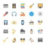 Icônes colorées par appartement 1 de multimédia Image stock