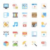 Icônes colorées par appartement 8 de multimédia Photo libre de droits