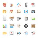 Icônes colorées par appartement 2 de multimédia Image libre de droits
