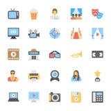 Icônes colorées par appartement 3 de multimédia Photographie stock libre de droits