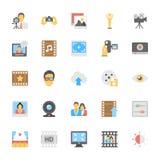 Icônes colorées par appartement 7 de multimédia Images stock