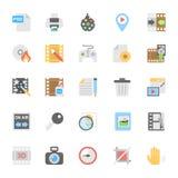 Icônes colorées par appartement 9 de multimédia Image stock