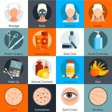 Icônes colorées par appartement de soins de la peau réglées illustration de vecteur