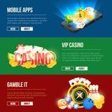 Icônes colorées réglées de différents divertissements de casino Les bannières de vecteur ont placé avec l'endroit pour votre text illustration libre de droits