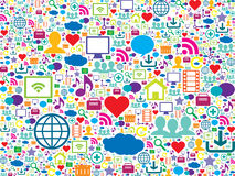 Icônes colorées de technologie et de media social Image stock