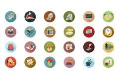 Icônes colorées par appartement financier 5 Photos stock