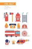 Icônes conceptuelles de vecteur d'aide du feu réglées Photo stock