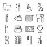 Icônes cosmétiques de vecteur réglées Image libre de droits