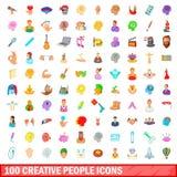 100 icônes créatives de personnes réglées, style de bande dessinée Images libres de droits