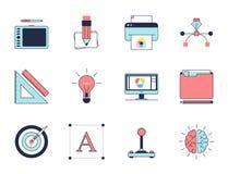 Icônes créatives de processus de conception Photo libre de droits