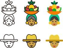 Icônes cubaines de femme et d'homme illustration stock