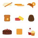 Icônes cuites au four fraîches de produits de pain de vecteur Photo stock