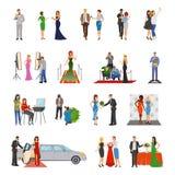 Icônes décoratives colorées par appartement de célébrité illustration stock
