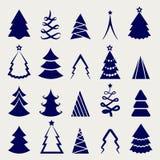 Icônes décoratives d'arbre de Noël réglées Photos libres de droits