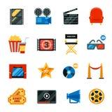 Icônes décoratives de cinéma plat réglées Photographie stock libre de droits