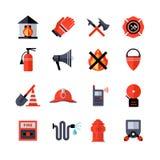 Icônes décoratives de corps de sapeurs-pompiers illustration stock