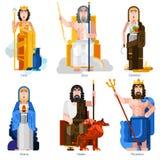 Icônes décoratives de dieux olympiques réglées Image stock