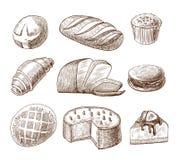 Icônes décoratives de pâtisserie et de pain réglées illustration de vecteur