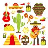 Icônes décoratives du Mexique réglées illustration stock