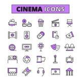 Icônes décrites par symboles de cinéma réglées Image stock