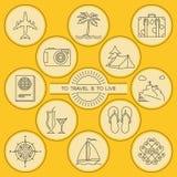 Icônes décrites rondes de voyage et de tourisme réglées Photo stock