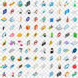 100 icônes d'école réglées, style 3d isométrique Image libre de droits
