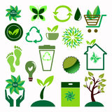 Icônes d'écologie réglées Photo libre de droits