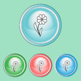 Icônes d'écologie réglées, ligne Art Style Image stock