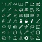 Icônes d'éducation de griffonnage de vecteur réglées illustration de vecteur