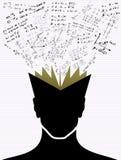 Icônes d'éducation de nouveau au livre de tête humaine d'école. Images stock