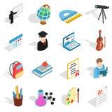 Icônes d'éducation réglées, style 3d isométrique Photos stock