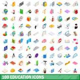 100 icônes d'éducation réglées, style 3d isométrique Photographie stock libre de droits