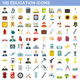 100 icônes d'éducation réglées, style plat illustration libre de droits